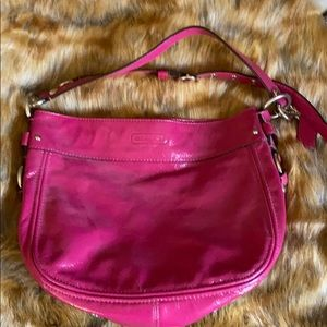Coach pink patent leather crossbody bag